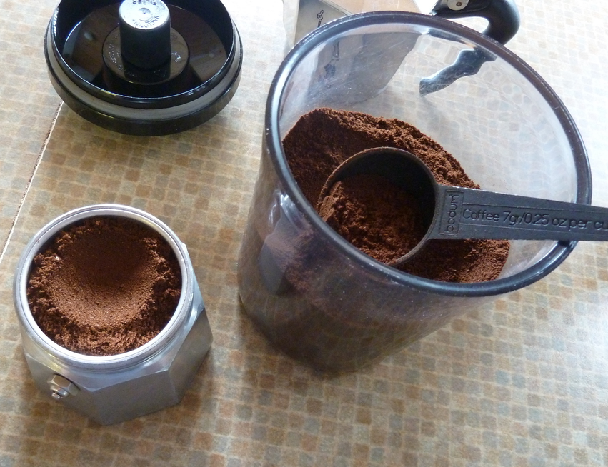 Bialetti being filled with coffee