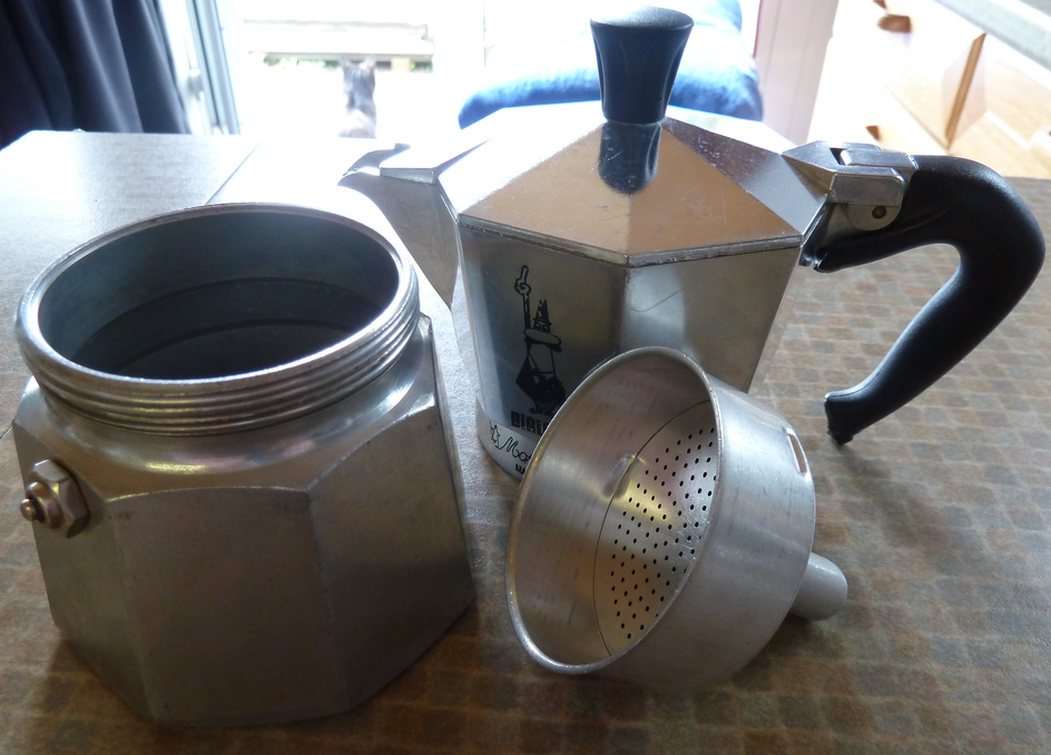A disassembled Bialetti