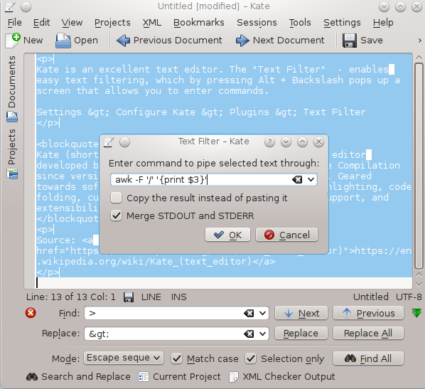 popup window showing the command