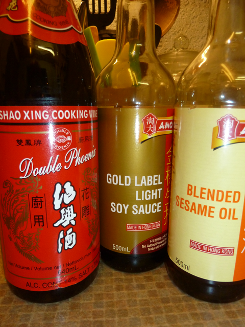 Rice wine, soy sauce and sesame oil