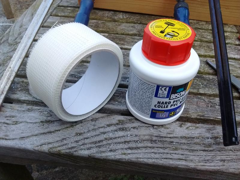 Builders supply stores and DIY shops carry the tape and glue