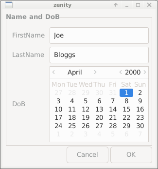 Zenity Forms Dialog